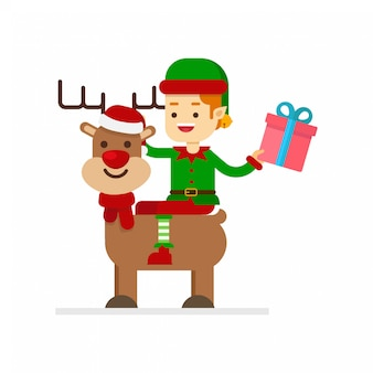 Elf riding a reindeer in christmas with gift box