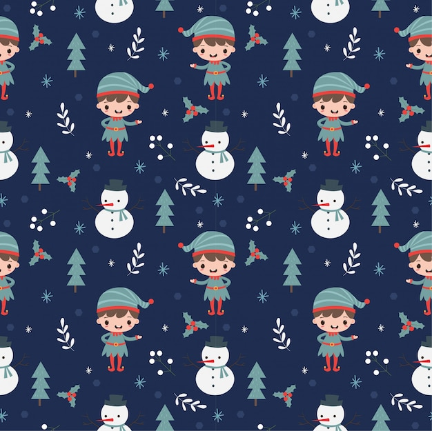 Elf ,snowman and christmas elements seamless pattern