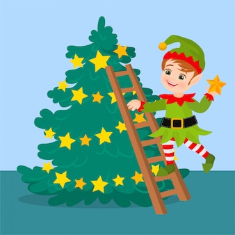 Elf standing on stairs decorating a christmas tree