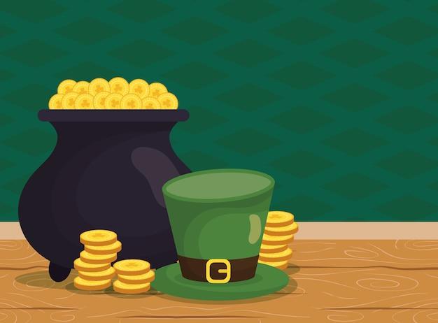 Котел с сокровищами эльфа с монетами и шляпой