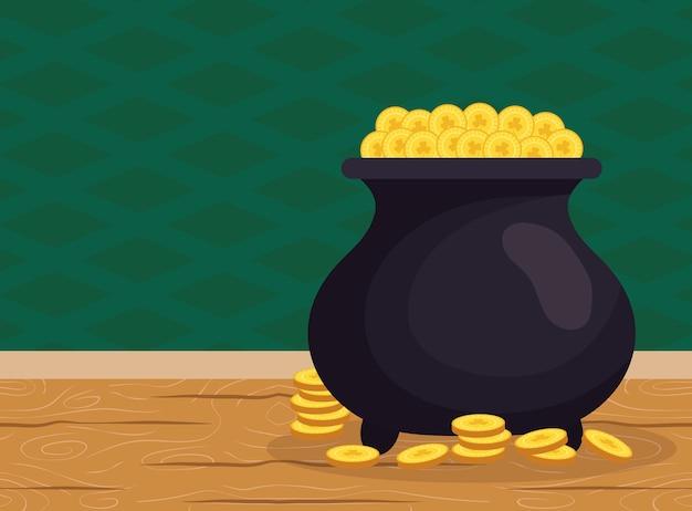 Котел с сокровищами эльфа с монетами