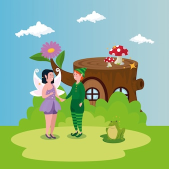 Elf with fairy in scene magic