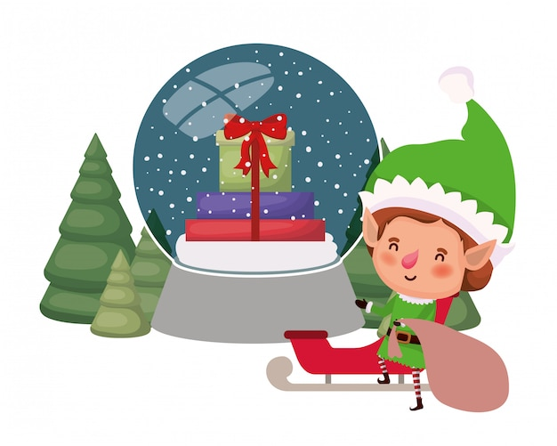 Elf with gift bag and christmas tree avatar character