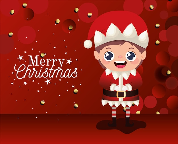 Elf  with merry christmas lettering on red background  illustration