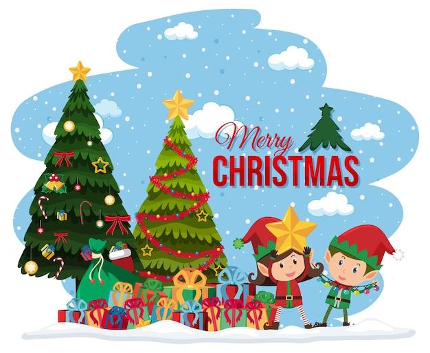 Эльфы празднуют рождество баннер