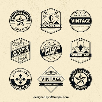 Elgant set of vintage badges