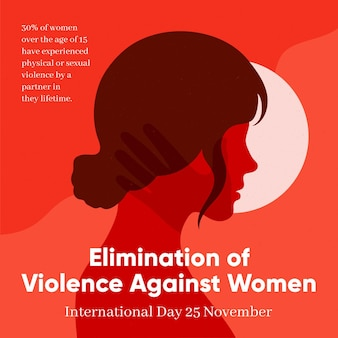 Elimination of violence against women illustration with side view woman