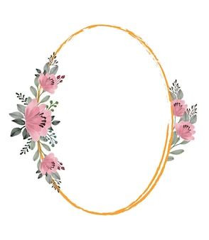 Elips frame with pink flower bouquet for greeting and wedding card