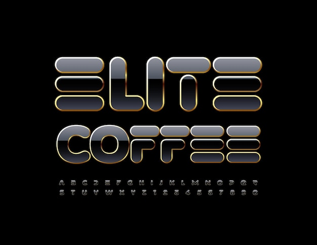 Elite coffee stylish glossy font luxury alphabet letters and numbers set