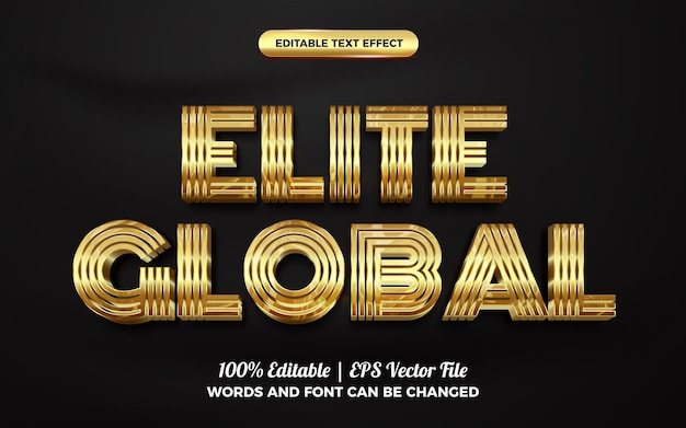 Elite global gold 3d editable text effect style template