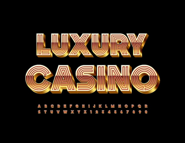 Elite luxury casino maze style alphabet letters and numbers 3d gold and red font