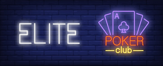 Elite poker club illustration in neon style. text and playing cards