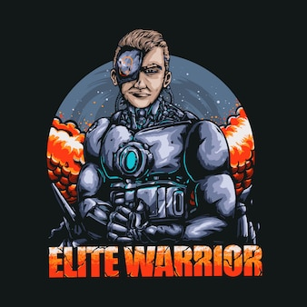 Elite robot warrior illustration