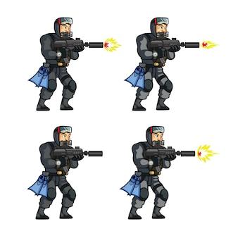 Elite special force frogman game sprite Premium векторы