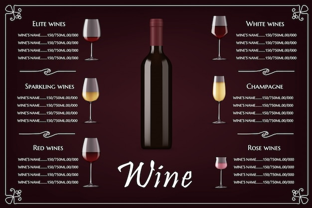 Elite wines list, restaurant menu  template