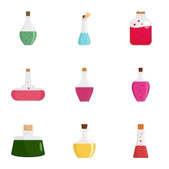 Elixir potion icon set, flat style