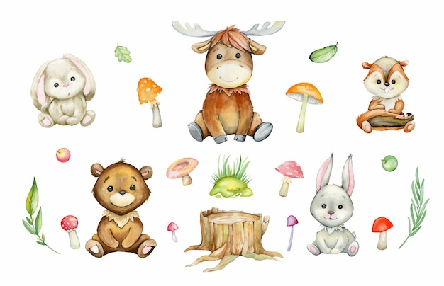 ヘラジカ、クマ、ウサギ、ノウサギ、シマリス、キノコ、植物。漫画のスタイルで、森の動植物の水彩セット。