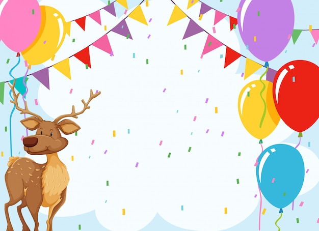 Elk in birthday invitation card with copyspace
