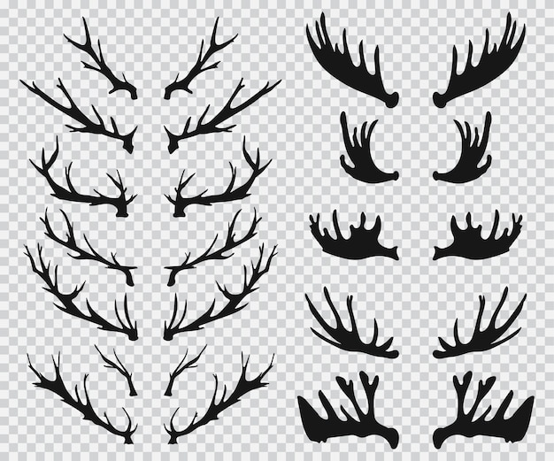 Elk and deer antlers black silhouette  icons set  on a transparent background.