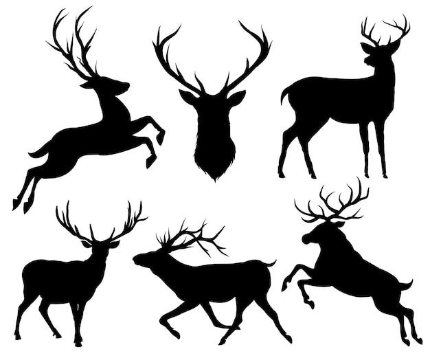 Elk and deer silhouette set