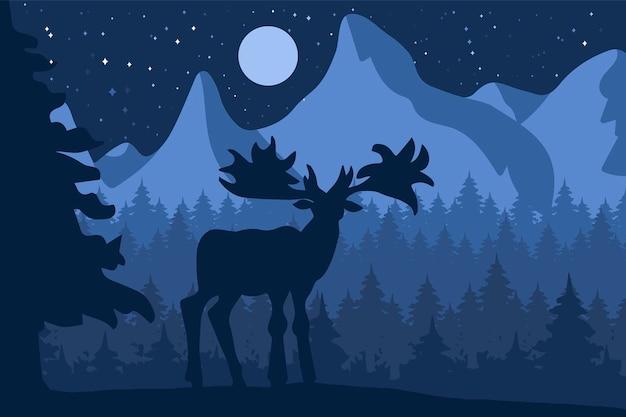 달 아래 산 근처 밤 침엽수 숲에서 엘크. 벡터