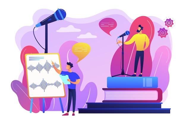 Урок ораторского искусства. улучшение речи. звукозаписывающая студия. тренировка голоса и речи, техники проекции голоса, улучшение концепции разговорных навыков. яркие яркие фиолетовые изолированные иллюстрации