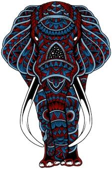 원하는 대로 탈취를 위한 코끼리 zentangle 벡터 일러스트