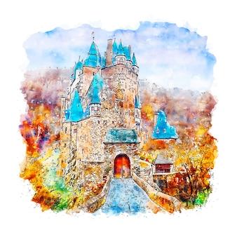 Замок эльц германия акварельный эскиз рисованной иллюстрации