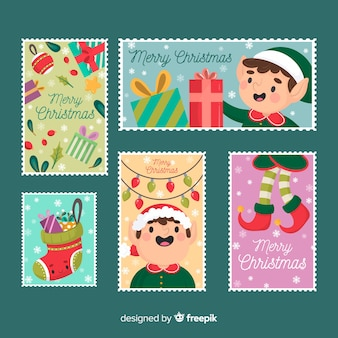 Elves of christmas greeting card