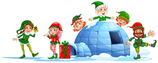Elves playing outside the igloo