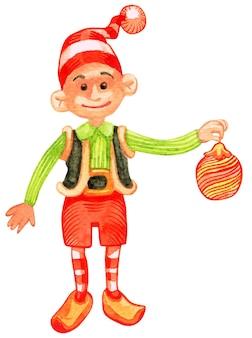 冬休みのためにクリスマス松常緑樹を準備するエルフ。つまらないものでトウヒを飾るはしごの上に立っている衣装を着たノーム。シンボルのために装飾された以下のプレゼントとギフトボックス