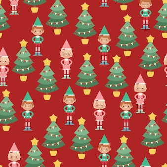 Elves vector seamless pattern