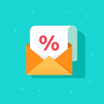 Email advertising promotion on envelope with percentage discount vector icon flat cartoon