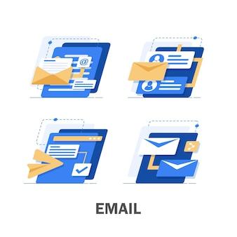 メールとメッセージング、メールマーケティングキャンペーン、フラットデザインイラスト Premiumベクター