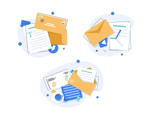 メールとメッセージング、メールマーケティングキャンペーン、フラットなデザインイラスト Premiumベクター