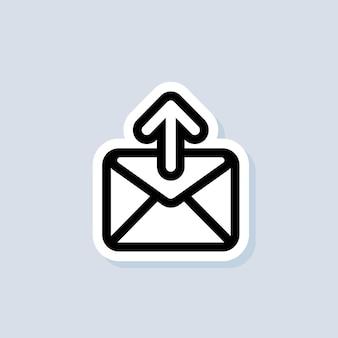 이메일 및 메시징 스티커. 위쪽 화살표와 함께 봉투입니다. 이메일 아이콘입니다. 뉴스레터 로고. 이메일 마케팅 캠페인. 격리 된 배경에 벡터입니다. eps 10.
