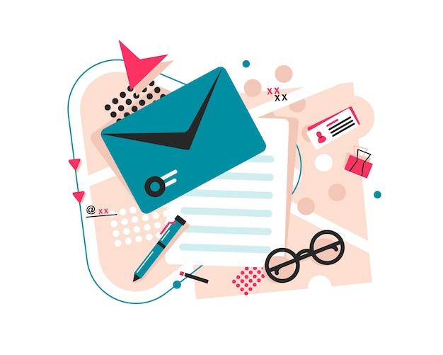 メールとメッセージングメールマーケティングキャンペーンフラットデザインアイコンベクトル図