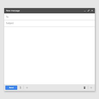 Электронная страница пустого шаблона электронной почты. интерфейс для почтового сообщения