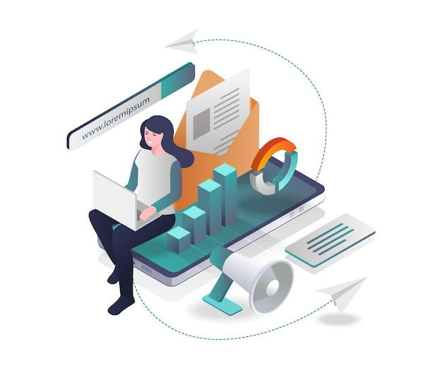 Email campaigns and promotions in isometric design