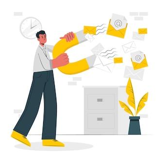 Illustrazione del concetto di cattura e-mail