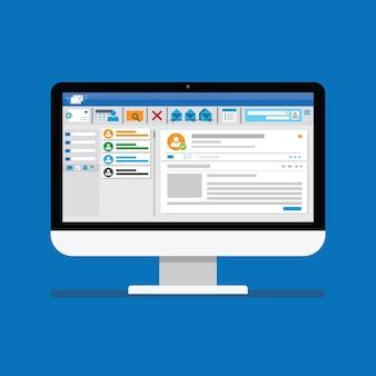 Программное обеспечение клиента электронной почты на плоском значке экрана компьютера. интерфейс рамки интернет-почты шаблона рассылки для почтового сообщения.