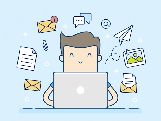 Email concept with man and laptop.