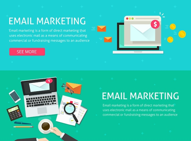 Email digital marketing concept advertising tech as electronic mail promotion revenue and analysis