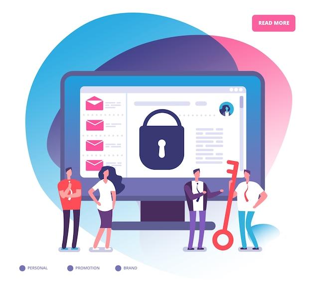 電子メールの暗号化。インターネットデータ保護、ビジネス資産セキュリティシステム。電子メール暗号化およびオンラインバックアップサービスの概念。