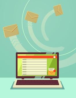 이메일 봉투 및 노트북.
