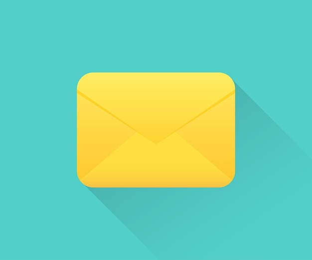 Email envelope icon with long shadow. closed envelope icon