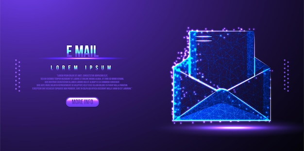 Email, envelope low poly wireframe