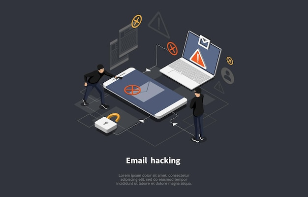 Email hacking conceptual art on dark.