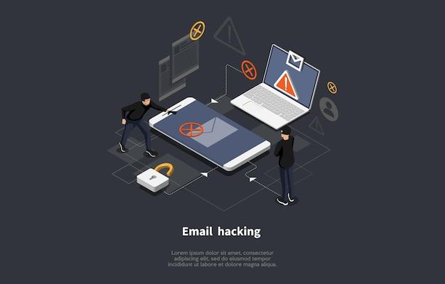 어둠에 이메일 해킹 개념 예술.