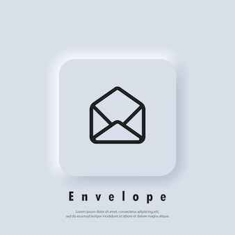 이메일 아이콘입니다. 봉투를 엽니다. 뉴스레터 로고. 이메일 및 메시징 아이콘입니다. 이메일 마케팅 캠페인. 벡터 eps 10입니다. ui 아이콘입니다. neumorphic ui ux 흰색 사용자 인터페이스 웹 버튼입니다. 뉴모피즘